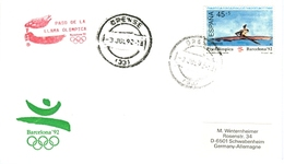 SPAIN Olympic Cover With Olympic Stamp And Torchrelay Cancel Orense 3 Jul 92 With Red Torch Cancel - Summer 1992: Barcelona