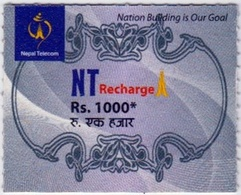 GSM MOBILE Rs.1000 RECHARGE PREPAID USED MINI CARD NEPAL TELECOM NEPAL - Nepal