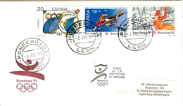 SPAIN Olympic Cover With Olympic Stamps And Torchrelay Cancel Ponferrada Leon 4 Jul 92 With Black Torch Cancel - Summer 1992: Barcelona