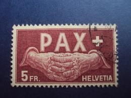 """1945- N° 416- Série  PAX """" Mains Jointes""""  -  5Frs Lie De Vin  - Oblitéré, Tb, Cote 325 Euros  Net  108 Euros - Suisse"""
