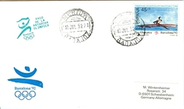 SPAIN Olympic Cover With Olympic Stamp And Torchrelay Cancel Merida 10 Jul 92 With Green Torch Cancel - Summer 1992: Barcelona