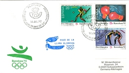 SPAIN Olympic Cover With Olympic Stamps And Torchrelay Cancel Las Palmas 14 Jul 92 With Blue Torch Cancel - Summer 1992: Barcelona