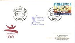 SPAIN Olympic Cover With Olympic Stamp And Torchrelay Cancel Malaga 15 Jul 92 With Violet Torch Cancel - Summer 1992: Barcelona