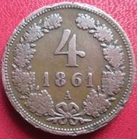 AUTRICHE 4 Kreuzer Aigle Bicéphale 1861, A (Vienne), TB - Austria