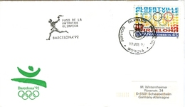 SPAIN Olympic Cover With Olympic Stamp And Torchrelay Cancel Murcia 19 Jul 92 With Black Torch Cancel - Summer 1992: Barcelona