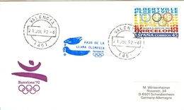 SPAIN Olympic Cover With Olympic Stamp And Torchrelay Cancel Valencia 21 Jul 92 With Blue Torch Cancel - Summer 1992: Barcelona