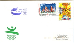 SPAIN Olympic Cover With Olympic Stamps And Torchrelay Cancel Toriosa 21 Jul 92 With Violet Torch Cancel - Summer 1992: Barcelona