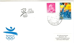 SPAIN Olympic Cover With Olympic Stamps And Torchrelay Cancel Alicante 27 Jul 92 With Black Torch Cancel - Summer 1992: Barcelona