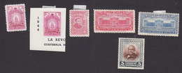 Guatemala, Scott #C136, C136a, C137, C137A, C139-C140, Mint Hinged, Torch, Rivera, Palace, Hill, Issued 1945-46 - Guatemala