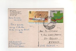 Timbres Yvert N° 956 , 961 , Sur CP , Carte Postale , Postcard Du 22/11/1971 Pour La France - Brazil