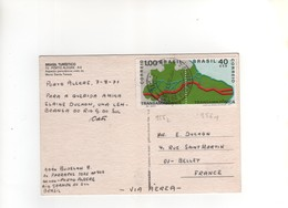 Timbres Yvert N° 955 , 956  , Sur CP, Carte Postale , Postcard Du 07/08//1971 Pour La France - Brasile