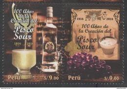 PERU ,2016 ,MNH,DRINKS, ALCOHOL, PISCO, GRAPES, 2v - Wines & Alcohols