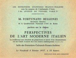 VP12.321 - Carte - Carton D'Invitation - Paris Ambassade D'Italie - M. Fortunato BELLONZI L'Art Morderne Italien - Announcements