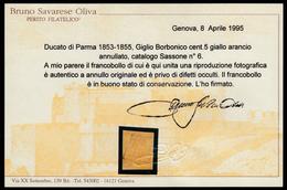 Parma: Giglio Borbonico Sormontato Da Corona Ducale 5 C. Giallo Arancio / Usato (Certificato) - 1853/55 - CURIOSITA' - Parma