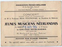 VP12.322 - Carte - Carton D'Invitation - PARIS - Association France - Hollande - Concert Jeunes Musiciens Néerlandais - Faire-part