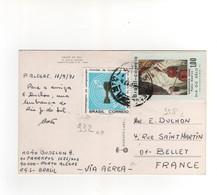 Timbres Yvert N° 932 , 958 , Sur CP, Carte Postale , Postcard Du 11/09/1971 Pour La France - Brazil