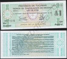 Argentina ( Tucuman ) P S2711 - 1 Austral 30.11.1991 - UNC - Argentina