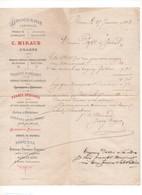 P24: 1883 Lettre Droguerie Centale C. MIRAUD Roanne Produits Chimiques Couleurs Colles Vernis Brosserie Pinceaux - 1800 – 1899