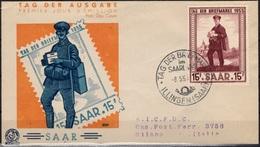 SARRE 342 Premier Jour FDC ETB Saar Tag Der Briefmarke 1955 Journée Du Timbre (CV 10 €) - FDC