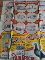 CALENDRIER DES  COLOMBOPHILES  1903 ,,,,, SOUS FORME D' AFFICHE 84 X 64 CM ,,,,tres Coloree - Calendars