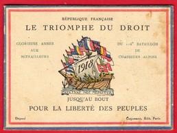 -- 1918 CALENDRIER PATRIOTIQUE - LE TRIOMPHE DU DROIT POUR LA LIBERTE DES PEUPLES - - Calendriers