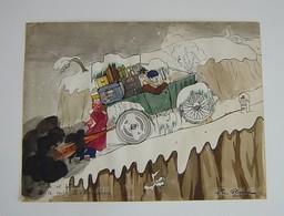 Dessin Signé Rehaussé à L'aquarelle Noël 1946 - Voiture Neige Humour - Watercolours