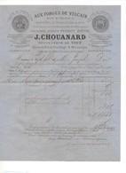 P29 1878 Facture Forges De Vulcain J. CHOUANARD Suc De YOUF Anc Maison PERROT BAVOIL Quincaillerie Outillage Scies - 1800 – 1899