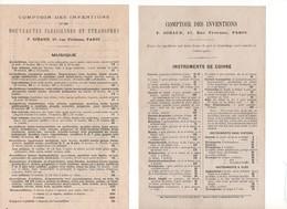P56 3 Docs Comptoir Des Inventions Instruments De Cuivre Accordéons Ocarinas Musique Cartes à Jouer - 1800 – 1899