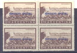 "1955. Argentina, Mich.81,overprint ""Servicio Official"" In #624, 4v In Block,  Mint/** - Argentina"