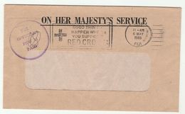1980 FIJI OHMS 'OFFICIAL PAID  PSW 11' Slogan RED CROSS Cover COUNTER SUPERVISOR - Fiji (1970-...)