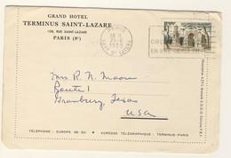 (Z06) - Y&T N° 1130 SEUL - CARTE LETTRE ILLUSTREE PARIS =>USA 1959 TARIF 1-20 GRS DU 06/01/1951 - GRAND HOTEL TERMINUS - Brieven En Documenten