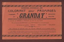 BUVARD -- Collorant Pour Fromages - Ets. GRANDAY à BEAUNE. 21 - Expo. Universelle 1889 à PARIS - 2 Scannes. - Dairy