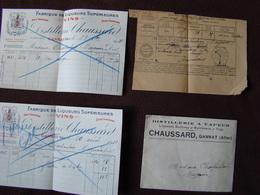 P12 Fabrique De Liqueurs Supérieures Distillerie à Vapeur CHAUSSARD Gannat 03 Allier + Un Laissez Passer - 1900 – 1949