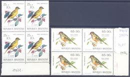 1972. Argentina, Mich.1119-20,  Birds, 4 Sets In Blocks Of 4v,  Mint/** - Argentina