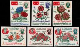 ~~~ Yemen Kingdom 1965 - Fauna Flowers - Mi. 182B/187B IMPERF  ** MNH OG - CV 22 Euro ~~~ - Yemen