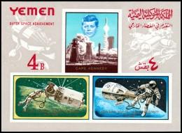~~~ Yemen Kingdom 1965 - Space Kennedy - Mi. Block 27 B IMPERF  ** MNH OG - CV 25 Euro ~~~ - Ruimtevaart