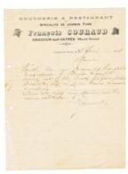 Lettre à Entête = Boucherie = Restaurant François COURAUD à ORADOUR Sur VAYRES 1914 ( Haute Vienne) Fr61 - 1900 – 1949