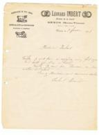 Lettre à Entête = Marechalerie Léonard IMBERT à NEXON 1913 ( Haute Vienne) Fr61 - 1900 – 1949
