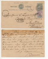 INLAND-POST-CARD-BRITISH-GUYANA-TO-AMSTERDAM-8 - Amérique Centrale
