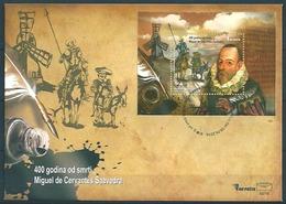 Bosnia Herzegovina (2016) - Block - FDC  /  Cervantes - Quijote - Horse - Rocinante - Donkey - Windmill - Scrittori