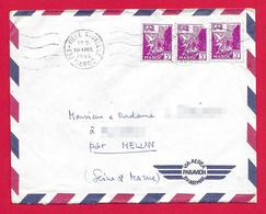 Enveloppe Datée De 1956 - Poste Aérienne - Expédiée De Fès Au Maroc Vers Melun En France - Luchtpost