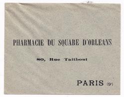 Enveloppe Années 1900 Pharmacie Du Square D'Orléans, 80, Rue Taitbout, Paris - 1800 – 1899