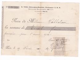 Reçu Timbré G. Viau, Chirurgien-dentiste, 109 Boulevard Malesherbes, Paris, 1914 - 1900 – 1949