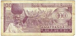 Billet  Rwanda. 100 Amafranga. Cents Francs. 01-07-64. - Rwanda