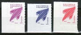 Polynésie. 3 TP AUTOCOLLANTS. PROVENANT DE CARNETS. ROUGE, BLEU, FUSCHIA. VOIR DESCRIPTION. - Markenheftchen