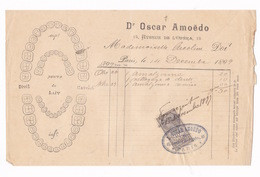 Rare Facture Timbrée Dr Oscar Amoëdo, Dentiste, 15 Avenue De L'Opéra, Paris, 1899 - 1800 – 1899