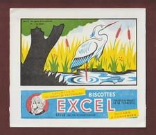 BUVARD -- EXCEL - BISCOTTES - Les Fables De La Fontaine - LE HERON - Série D. N°42 - 2 Scannes. - Zwieback