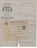 TH6 1889 Env Avis De Traite HUSSON BUTHOD & J THIBOUVILLE LAMY & SAVARESSE Instruments De Musique + Verso - 1800 – 1899