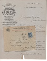 TH6 1889 Env Avis De Traite HUSSON BUTHOD & J THIBOUVILLE LAMY & SAVARESSE Instruments De Musique + Verso - France
