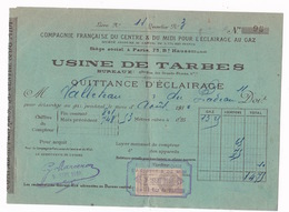 2 Factures 1910 Cie Fse Du Centre & Du Midi Pour L'Eclairage Au Gaz, Usine De Tarbes, 6 Bis Rue Des Grands-Fossés - 1900 – 1949